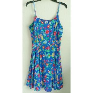 Old Navy Cami Blue Floral Fit & Flare Dress